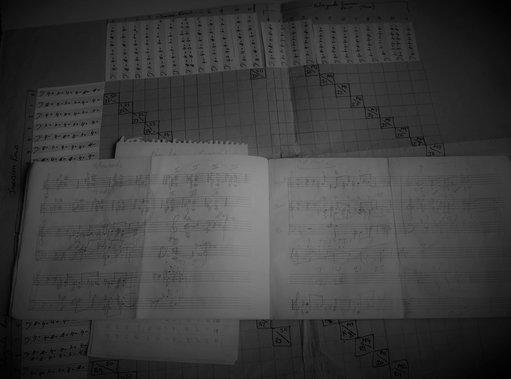 Photo of the original notebooks and manuscripts showing the serial note rows used